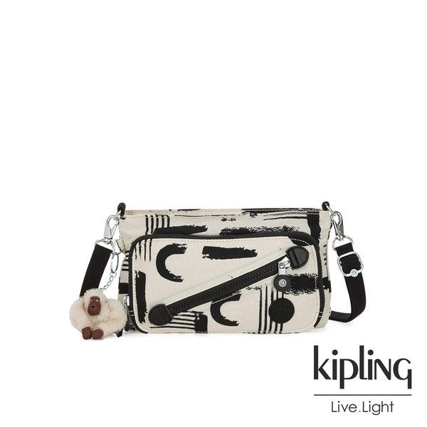 Kipling 幾何水墨塗鴉斜拉鍊肩背包-MILOS