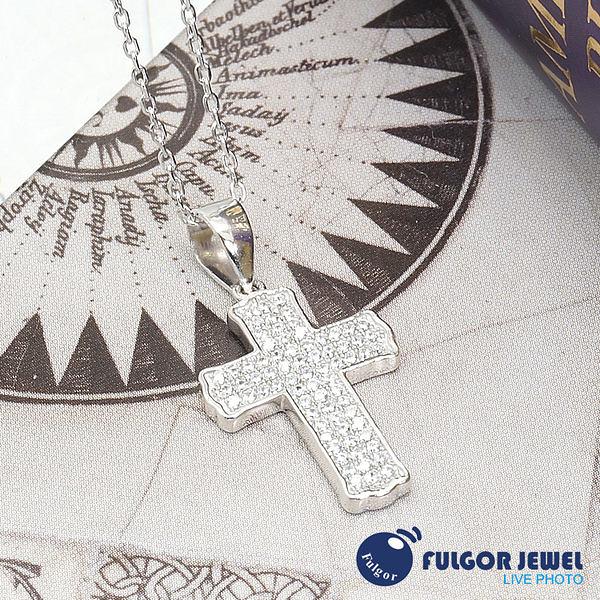 FU飾品 925純銀 聖誕節 禮物 歐美意大利流行 晶亮十字架925純銀項鍊【Fulgor Jewel】