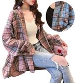 EASON SHOP(GW5959)韓版親膚磨毛撞色格紋前排釦單口袋長版開衫長袖襯衫外套罩衫女上衣空調衫防曬衫