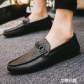 秋季男生黑色休閒個性豆豆鞋男學生潮流鞋子社會懶人鞋男『艾麗花園』