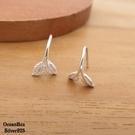 §海洋盒子§一體成形小巧葉片925純銀針式耳環