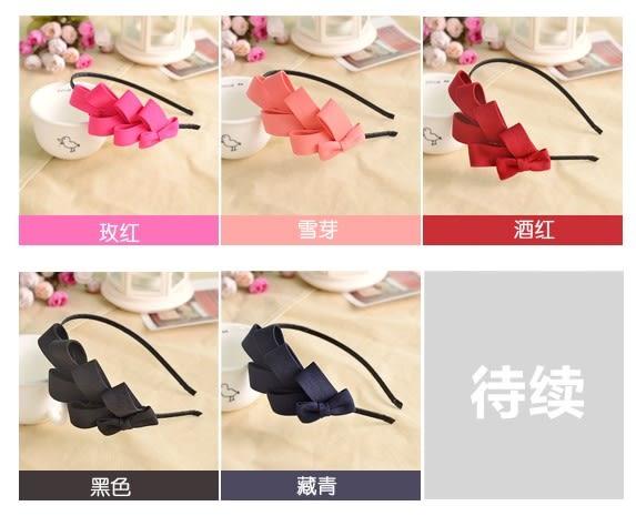 [協貿國際]  韓版髮飾多層純色蝴蝶結頭箍 (5個價)