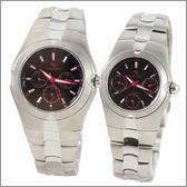 【萬年鐘錶】 Roven Dino 羅梵迪諾 楊丞琳代言 三眼對錶黑紅字 RD9801-RD9802