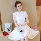 新款高腰女裝修身復古文藝中國風刺繡改良旗袍LJ3864『miss洛羽』