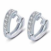 925純銀耳環-鋯石心形簡約氣質時尚母親節生日情人節禮物女耳扣73zw72【時尚巴黎】
