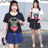 ★韓美姬★中大尺碼~奶奶印花T恤短袖上衣(XL~4XL)