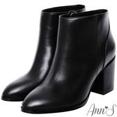 Ann'S主角級時髦-素面美型顯瘦粗跟短靴-黑