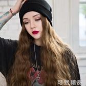 毛線帽子連帶假髮一體女秋冬天款長髮水波紋網紅時尚長捲髮全頭套 雙十一全館免運