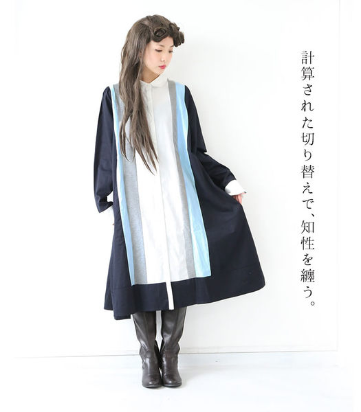 異素材藍灰直紋拼接綁帶襯衫洋裝 深藍《somari》D100-OH-1502 【osharewalker】