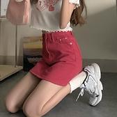 高腰牛仔短裙女夏2021年新款時尚韓版顯瘦包臀裙子紅色a字半身裙 夢幻小鎮「快速出貨」
