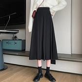 半身長裙黑色百摺裙女秋冬半身裙2021新款高腰顯瘦A字裙鹽系墜感裙子長裙 JUST M