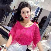 夏裝2018新款女氣質韓版吊帶露肩短袖流蘇鏤空罩衫百搭針織衫上衣