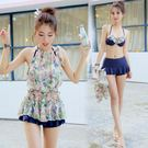 泳衣女韓國ins風 比基尼三件套聚攏小胸遮肚性感顯瘦保守游泳衣 喵小姐