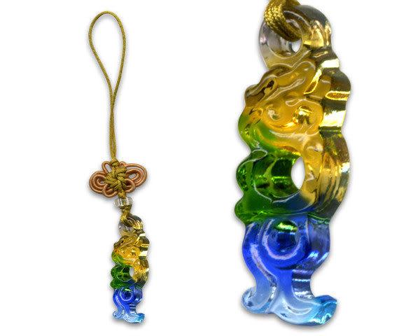 鹿港窯~居家開運水晶琉璃手機吊飾~飛龍◆附精美包裝