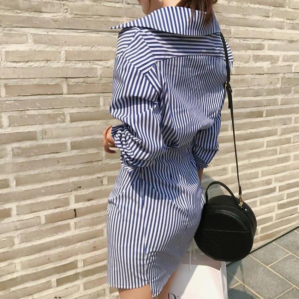 秋冬裝2019新款氣質時尚襯衫裙女修身長袖條紋不規則包臀連身裙潮