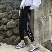 黑五好物節 秋季女裝韓版寬鬆側邊運動褲九分褲哈倫褲【名谷小屋】