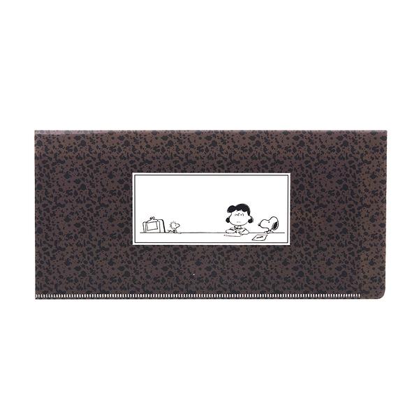 Marimo PP雙袋式折疊票券收納夾 SNOOPY 潑漆 棕 FT05712