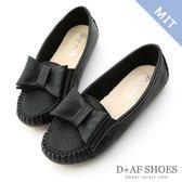 豆豆鞋 D+AF 俏皮可愛.MIT大蝴蝶結莫卡辛豆豆鞋*黑