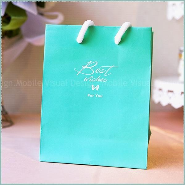 Tiffany藍「Best Wishes」小手提袋- 小禮物袋/送客禮物包裝袋/手提紙袋/婚禮小物-幸福朵朵