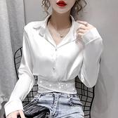 2021春裝新款高級別致上衣女百搭長袖短款襯衣設計感小眾白色襯衫 韓國時尚週