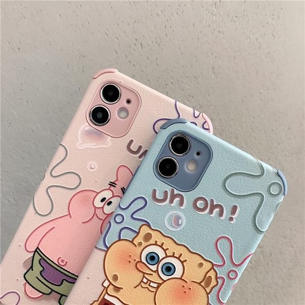 鼓嘴海綿 iPhone 12 mini iPhone 12 11 pro Max 浮雕手機殼 派大星 保護鏡頭 全包蠶絲 四角加厚 防摔軟殼