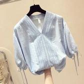 【雙11】夏裝新款七分袖超仙甜美雪紡衫襯衣女寬鬆半袖襯衫insV領上衣折300