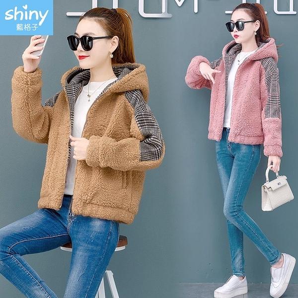【V3246】shiny藍格子-暖冬絮語‧仿羊羔毛絨拼接連帽外套