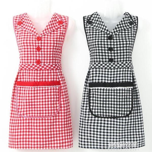 圍裙 純棉翻領圍裙女家用廚房透氣防油污時尚坎肩可愛 朵拉朵衣櫥