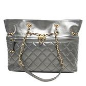 CHANEL 香奈兒 金屬深灰牛皮復古金鍊肩背包Chain Drawstring Bag AS0831【BRAND OFF】