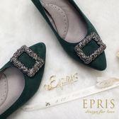 現貨 MIT小中大尺碼婚鞋推薦 星沙女神 100%羊皮麂皮低跟晚宴鞋 21-26 EPRIS艾佩絲-墨綠