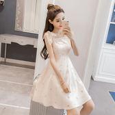 夏季時尚一字領裸色甜美亮片星星網紗裙綁帶吊帶洋裝連身裙女 森雅誠品