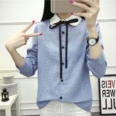 (全館一件免運)DE SHOP~(XA-5268)氣質白領綁帶子蝴蝶結麻灰色合身森林系長袖襯衫