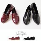 亮皮漆皮低跟休閒樂福鞋-2色~funsgirl芳子時尚