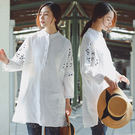 襯衫-寬鬆刺繡上衣亞麻/設計家 SC36...