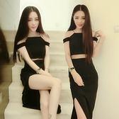 洋裝-情人節穿搭一字領性感平口修身顯瘦連身裙2色73ha3[巴黎精品]
