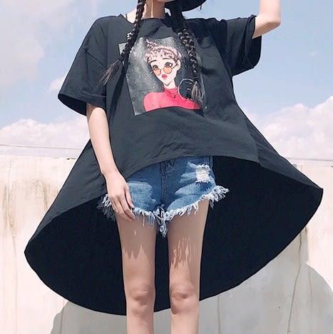 EASON SHOP(GU2742)OVERSIZE圓領短袖T恤長版前短後長五分袖女上衣白色棉T卡通塗鴉軟妹寬鬆T恤裙