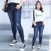 ★韓美姬★中大尺碼~腳口鉚釘水洗牛仔褲(XL~4XL)