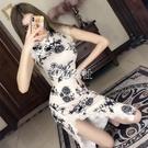 旗袍 夏季新款改良版少女中長款時尚復古旗袍輕款氣質連身裙潮