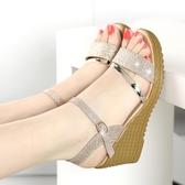 楔型鞋 春夏季女鞋坡跟涼鞋女平底高跟鞋百搭粗跟防滑厚底魚嘴學生鞋子潮 韓國時尚週
