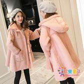 大尺碼孕婦裝冬裝連帽T恤加厚外套200斤麂皮絨寬鬆羊羔毛韓版孕婦大衣