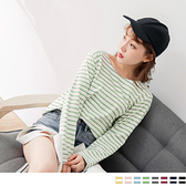 OB嚴選《AB1071-》多色橫條紋高含棉寬鬆長袖上衣.8色