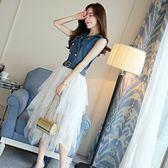 FINDSENSE G6 韓國時尚 夏季 V領 雙排扣 牛仔衫 蓬蓬裙 套裝 網紗 不規則 拼接 收腰 連身裙 兩件套