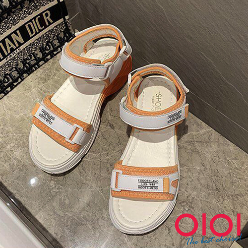 涼鞋 酷感幻彩魔術粘運動風涼鞋(橘)*0101shoes【18-016or】【現貨】
