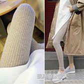 韓國秋螺紋針織大碼九分打底褲外穿豎條紋灰色外穿小腳褲女顯瘦  凱斯盾數位3C