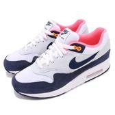 Nike 復古慢跑鞋 Wmns Air Max 1 白 深藍 藍 麂皮 運動鞋 女鞋 男鞋【PUMP306】 319986-116