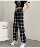 休閒褲M-2XL夏裝 學院風新款潮百搭復古格子寬松休閑哈倫薄款運動褲M028紅粉佳人