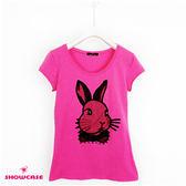 【SHOWCASE】休閒V領可愛兔子合身百搭棉質T恤(桃紅色)