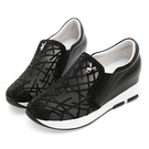 PLAYBOY 奢華晶鑽 真皮內增高休閒鞋-黑(Y5299黑)