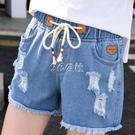 牛仔短褲女夏高腰學生松緊腰破洞韓版熱褲毛邊綁帶卷邊寬鬆闊腿褲