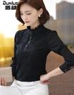 襯衫女長袖2020冬季新款加厚上衣黑色蕾絲打底衫女保暖加絨高 後街五號